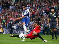 Photo: Paul Thomas.<br /> Espanyol v Sevilla. UEFA Cup Final. 16/05/2007.<br /> <br /> Albert Riera of Espanyol scores.