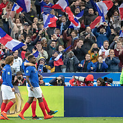 PARIS, FRANCE - March 25:  Samuel Umtiti #5 of France celebrates with team mates after scoring an early goal for France with a header during the France V Iceland, 2020 European Championship Qualifying, Group Stage at  Stade de France on March 25th 2019 in Paris, France (Photo by Tim Clayton/Corbis via Getty Images)