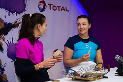 February 13, 2019 - Doha, QATAR - Mihaela Buzarnescu of Romania & Abigail Spears of the United States visit the Total Booth at the 2019 Qatar Total Open WTA Premier tennis tournament (Credit Image: © AFP7 via ZUMA Wire)