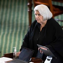 Texas Senate action on Monday, May 17, 2021 showing Sen. Judith Zaffirini, D-Laredo.