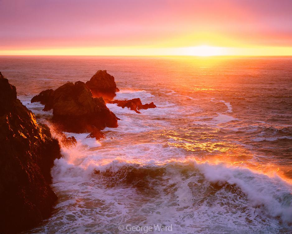 Coastal Sunset and Wave,Phillip Burton Wilderness,Point Reyes National Seashore, California
