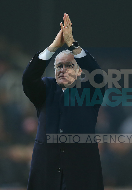 Claudio Ranieri manager of Leicester City applauds the fans during the English Premier League match at the Bet 365 Stadium, Stoke on Trent. Picture date: December 17th, 2016. Pic Simon Bellis/Sportimage