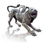 """Etruscan bronce statue of the mythical Chimera known as the  """"Chimera of Arezzo"""" from the St Lorentino Gate of Arezzo, made end of 5th - early 4th century B.C, inv no 1,  National Archaeological Museum Florence, Italy , white background .<br /> <br /> If you prefer to buy from our ALAMY PHOTO LIBRARY  Collection visit : https://www.alamy.com/portfolio/paul-williams-funkystock - Scroll down and type - Etruscan Florence - into LOWER search box. (TIP - Refine search by adding a background colour as well).<br /> <br /> Visit our ETRUSCAN PHOTO COLLECTIONS for more photos to download or buy as wall art prints https://funkystock.photoshelter.com/gallery-collection/Pictures-Images-of-Etruscan-Historic-Sites-Art-Artefacts-Antiquities/C0000GgxRXWVMLyc"""