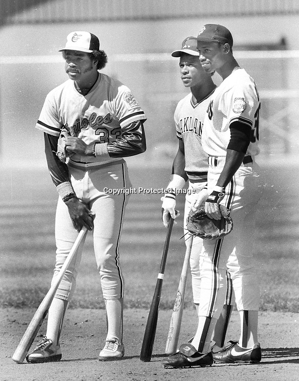 Three Major League  All-Stars, Eddie Murray, Rickey Henderson, and Chili Davis ..(1984 All-Star game, photo by Ron Riesterer)