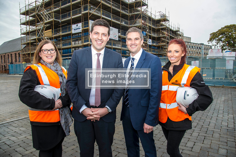 Pictured: Jamie Hepburn met Gemma Goorlay, Director of Social Sustainability, Stewart Shearer, MD of Robertsons' Partnership Homes and Laura Doherty, Trainee Assistant Site Manager (Roberston's 100th apprentice)<br /> Minister for Employability and Training Jamie Hepburn  responded to the latest Labour market statistics when he visited Robertson Partnership Homes in Edinburgh today and met some of their construction workers<br /> <br /> <br /> Ger Harley   EEm 15 November 2017