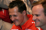 Betim_MG, Brasil...Michael Schumacher e Rubens Barrichelo, dentro de um carro, em passagem pelo Brasil...Michael Schumacher and Rubens Barrichelo, inside a car, passing through in Brazil...Foto: LEO DRUMOND / NITRO