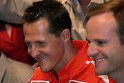 Betim_MG, Brasil...Michael Schumacher e Rubens Barrichelo, dentro de um carro, em passagem pelo Brasil...Michael Schumacher and Rubens Barrichelo, inside a car, passing through in Brazil...Foto: LEO DRUMOND / NITRO