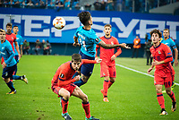 ST PETERSBURG, RUSSIA - SEPTEMBER 28, 2017. 2017-18 UEFA Europa League Group L Round 2 football match at Saint Petersburg Stadium: Zenit (St Petersburg) 3 - 1 Real Sociedad (San Sebastian). Zenit St Petersburg's Sebastian Driussi (front).