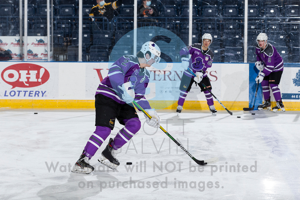 Youngstown Phantoms lose 3-2 in a shootout to the Muskegon Lumberjacks at the Covelli Centre on February 27, 2021.<br /> <br /> Mike Brown, defenseman, 2