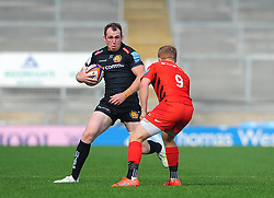 Max Bodilly of Exeter Braves tries to get past Matt Gallagher of Saracens Storm- Mandatory by-line: Nizaam Jones/JMP - 22/04/2019 - RUGBY - Sandy Park Stadium - Exeter, England - Exeter Braves v Saracens Storm - Premiership Rugby Shield