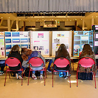 Projects line the caller of Red Rock Park during the 2018 Navajo Nation Science Fair Thursday. <br /> <br /> Jason joe<br /> Navajo prep<br /> <br /> <br /> Filisi Mauga <br /> Navajo prep<br /> End corner <br /> <br /> <br /> Dinè Ovens: cooking with wood <br /> -lillian Campbell <br /> Lukachukai community school<br /> <br /> Devin Fatt<br /> Judge <br /> <br /> Ganado hS<br /> <br /> Abigail Benally<br /> Aaliyah Blacksheep