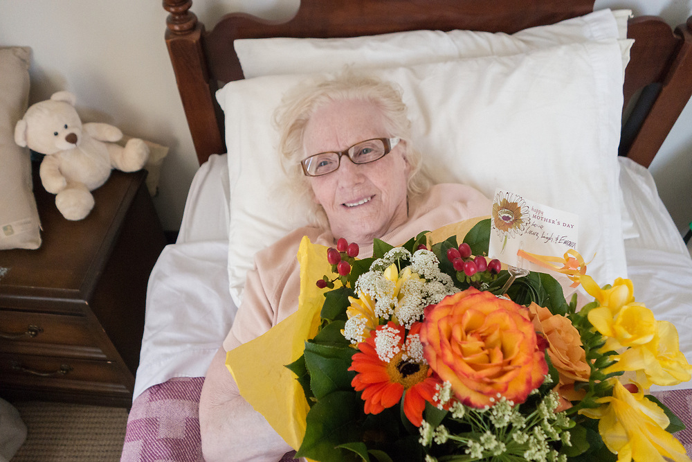 Mom - Frances Nuett-Siemens-Hoge on mothers Day, with flowers