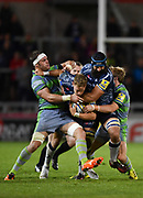 Newcastle Falcons flanker Will Welch holds back the charge of Sale Sharks full-back Mike Haley and No.8 Josh Strauss during the The Aviva Premiership Round 2 match Sale Sharks -V- Newcastle Falcons at The AJ Bell Stadium, Salford, Greater Manchester, England on Friday, September 8, 2017. (Steve Flynn/Image of Sport)