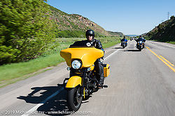 Brian Fuentes of The Woodlands, TX on his 2013 Street Glide riding from Steamboat Springs to Doc Holliday's Harley-Davidson in Glenwood Springs during the Rocky Mountain Regional HOG Rally, Colorado, USA. Thursday June 8, 2017. Photography ©2017 Michael Lichter.