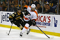 April 5, 2014: Philadelphia Flyers Andrew MacDonald (47) tries to escape from Boston Bruins Daniel Paille (20). The Boston Bruins defeated the Philadelphia Flyers 5-2 in a regular season NHL Eishockey Herren USA game at TD Garden in Boston, Massachusetts. NHL Eishockey Herren USA APR 05 Flyers at Bruins <br />