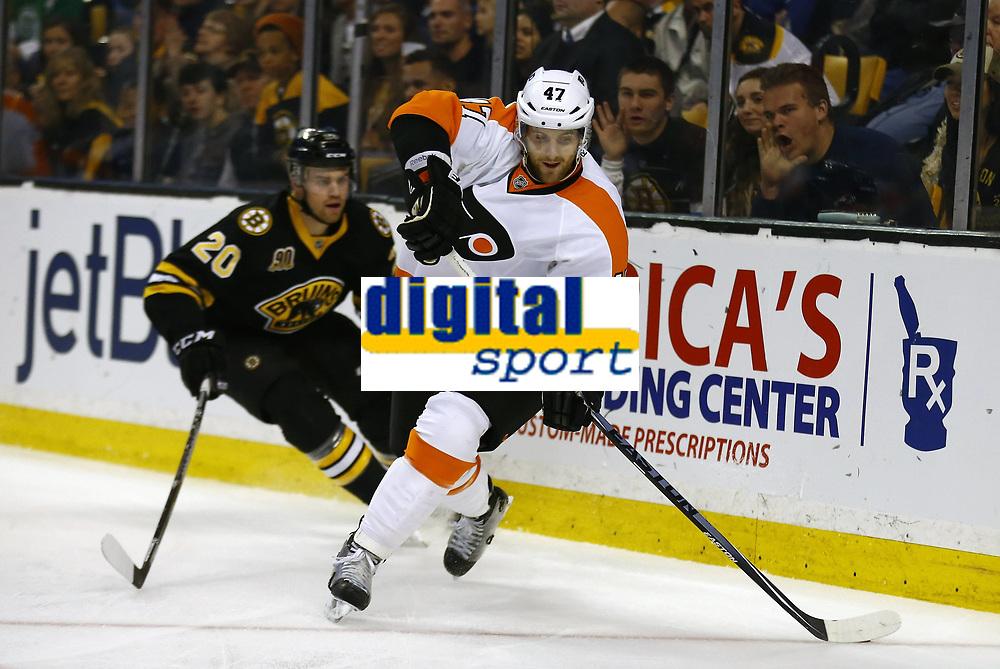 April 5, 2014: Philadelphia Flyers Andrew MacDonald (47) tries to escape from Boston Bruins Daniel Paille (20). The Boston Bruins defeated the Philadelphia Flyers 5-2 in a regular season NHL Eishockey Herren USA game at TD Garden in Boston, Massachusetts. NHL Eishockey Herren USA APR 05 Flyers at Bruins <br /> Norway only