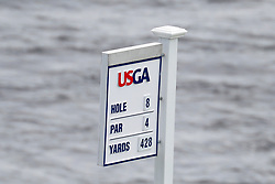 June 11, 2019 - Pebble Beach, CA, U.S. - PEBBLE BEACH, CA - JUNE 11: A general scenic view of the tee marker for the 8th hole seen during a practice round for the 2019 US Open on June 11, 2019, at Pebble Beach Golf Links in Pebble Beach, CA. (Photo by Brian Spurlock/Icon Sportswire) (Credit Image: © Brian Spurlock/Icon SMI via ZUMA Press)