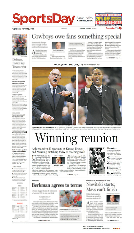 The Dallas Morning News -Sports Day, C1 II, January 6, 2013.
