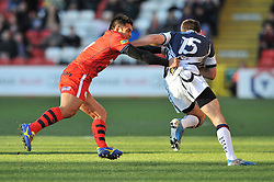 Bristol Rugby winger and captain David Lemi challenges for the ball with Yorkshire Carnegie's fullback Christian Georgiou - Photo mandatory by-line: Dougie Allward/JMP - Mobile: 07966 386802 - 18/01/2015 - SPORT - Rugby - Bristol - Ashton Gate - Bristol Rugby v Yorkshire Carnegie - Green King IPE Championship