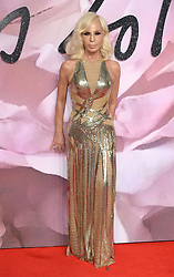 Donatella Versace attending The Fashion Awards 2016 at The Royal Albert Hall in London. <br /> <br /> Picture Credit Should Read: Doug Peters/ EMPICS Entertainment