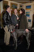 Virginia Gillece, 'William the Great Dane, and Clayton Gillece, Charlotte Callery, (on right in green corduroy)The Affordable Art Fair private view ( in aid of Barnados) Battersea. 19 March 2003. © Copyright Photograph by Dafydd Jones 66 Stockwell Park Rd. London SW9 0DA Tel 020 7733 0108 www.dafjones.com