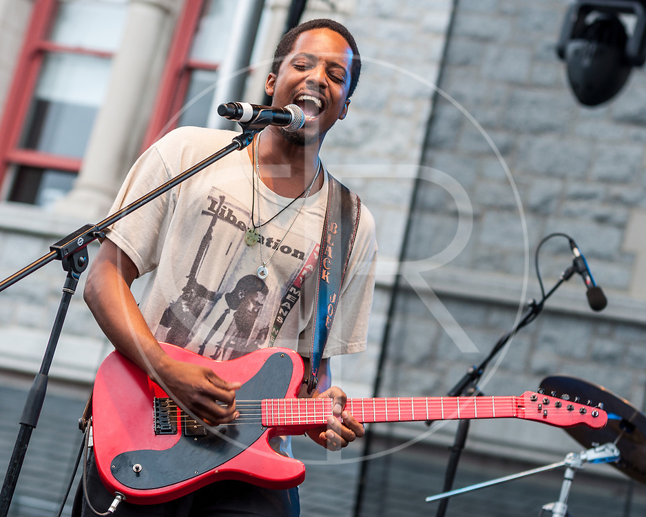 BALTIMORE United States - July 21, 2012: Black Joe Lewis and the Honeybears perform on the Wells Fargo Stage at Artscape, located in Baltimore's Mount Royal Cultural Corridor