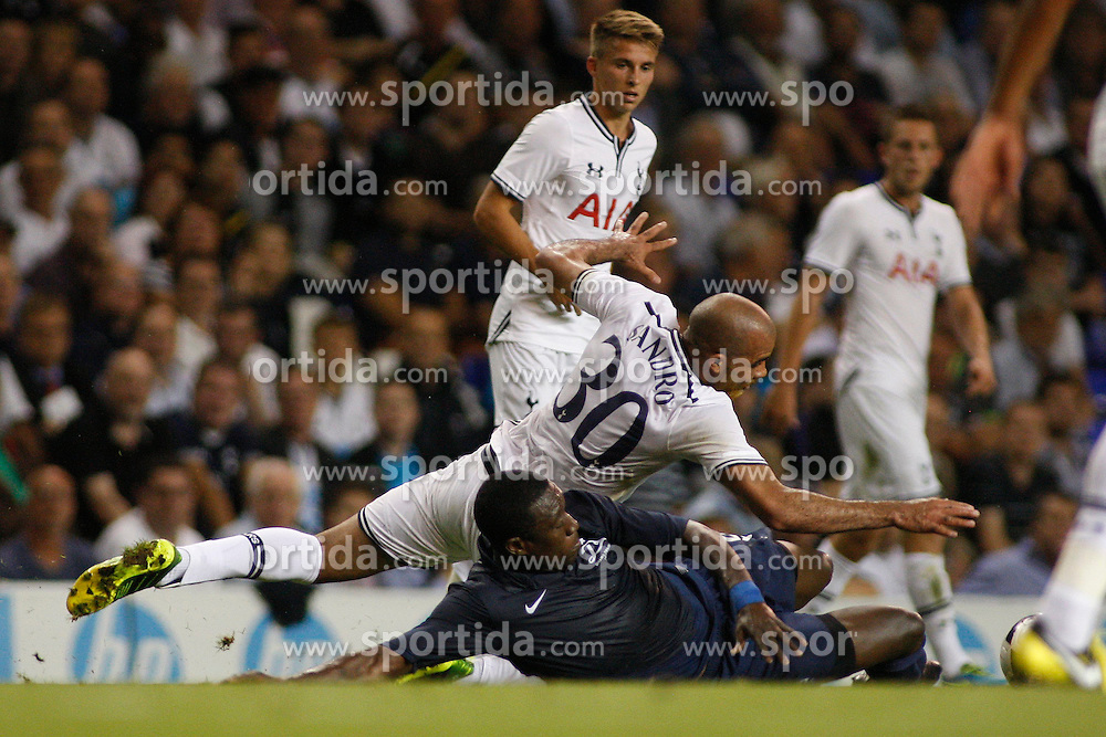 29.08.2013, White Hart Lane, London, ENG, UEFA CL Qualifikation, Tottenham Hotspur vs FC Dinamo Tiflis, Rueckspiel, im Bild Tottenham's Sandro and Dinamo Tbilisi's Vouho compete for the ball during the UEFA Europa League Qualifier second leg match between Tottenham Hotspur and FC Dinamo Tiflis Zuerich at the White Hart Lane in London, England on 2013/08/29 . EXPA Pictures © 2013, PhotoCredit: EXPA/ Mitchell Gunn <br /> <br /> ***** ATTENTION - OUT OF GBR *****