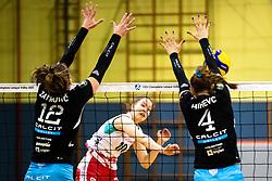 Taja Gradisnik Klanjscek of Nova KBM Branik vs Eva Zatkovic of Calcit Volley and Katja Mihevc of Calcit Volley during 3rd Leg Volleyball match between Calcit Volley and Nova KBM Maribor in Final of 1. DOL League 2020/21, on April 17, 2021 in Sportna dvorana, Kamnik, Slovenia. Photo by Matic Klansek Velej / Sportida