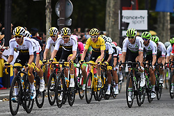 Riders of Team Sky lead the pack during a passage on the Champs Elysees, with view on the Arc du Triomphe, during the last stage of the 105th edition of the Tour de France cycling race, 116km from Houilles to Paris, France, on Sunday 29 July 2018. This year's Tour de France takes place from July 7th to July 29th. Photo by Eliot Blondet/ABACAPRESS.COM