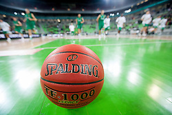 Spalding ball prior to the basketball match between KK Union Olimpija and Panathinaikos Athens (GRE) in 3rd Round of Regular season of Euroleague 2012/13 on October 26, 2012 in Arena Stozice, Ljubljana, Slovenia. (Photo By Vid Ponikvar / Sportida)