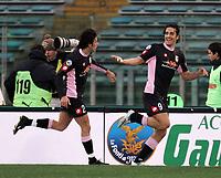 Fotball<br /> Serie A Italia<br /> Foto: Graffiti/Digitalsport<br /> NORWAY ONLY<br /> <br /> Roma 16/1/2005 <br /> <br /> Lazio Palermo 1-3<br /> <br /> Palermo forward Luca Toni celebrates goal of 1-3 with his teammate Christian Zaccardo