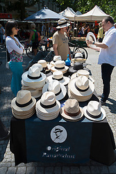 Panama hat stall at weekend market in Kolwitzplatz in Prenzlauer Berg in Berlin Germany