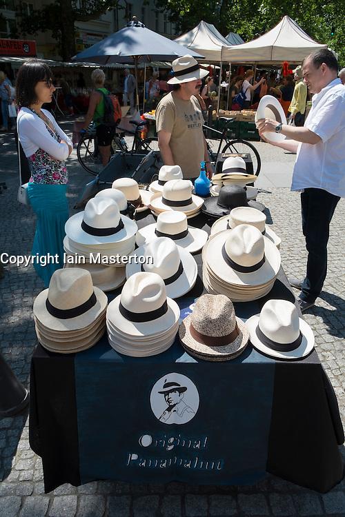 Panama hat stall at weekend market in Kolwitzplatz in Prenzlauer Berg in Berlin Germany