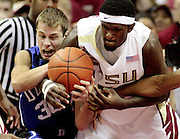 TALLAHASSEE, FL. 1/10/09-Florida State's Chris Singleton, right, steals from Duke's Jon Scheyer during first half action Saturday at the Donald L. Tucker Center in Tallahassee...COLIN HACKLEY PHOTO FOR NOLEINSIDER.COM