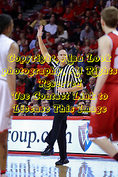 11 February 2017:  Jeff Malham calls a kicked ball during a College MVC (Missouri Valley conference) mens basketball game between the Bradley Braves and Illinois State Redbirds in  Redbird Arena, Normal IL