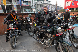 Scotty Busch (L) and Danny Ochs on the first morning of our Himalayan Heroes adventure before riding out from Kathmandu, Nepal. Tuesday, November 6, 2018. Photography ©2018 Michael Lichter.