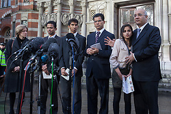 © licensed to London News Pictures. London, UK. 15/12/2012. The son Junal (third left), husband Ben Barboza (centre) and The daughter Lisha (second right), of nurse Jacinta Saldanha talking to the media outside Westminster Cathedral in London after a memorial service with Keith Vaz (right) held for Jacinta Saldanha who committed suicide. Photo credit: Tolga Akmen/LNP