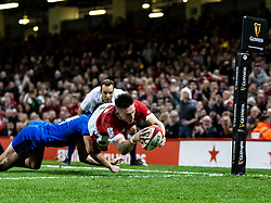 Josh Adams of Walesscores his sides second try<br /> <br /> Photographer Simon King/Replay Images<br /> <br /> Six Nations Round 1 - Wales v Italy - Saturday 1st February 2020 - Principality Stadium - Cardiff<br /> <br /> World Copyright © Replay Images . All rights reserved. info@replayimages.co.uk - http://replayimages.co.uk