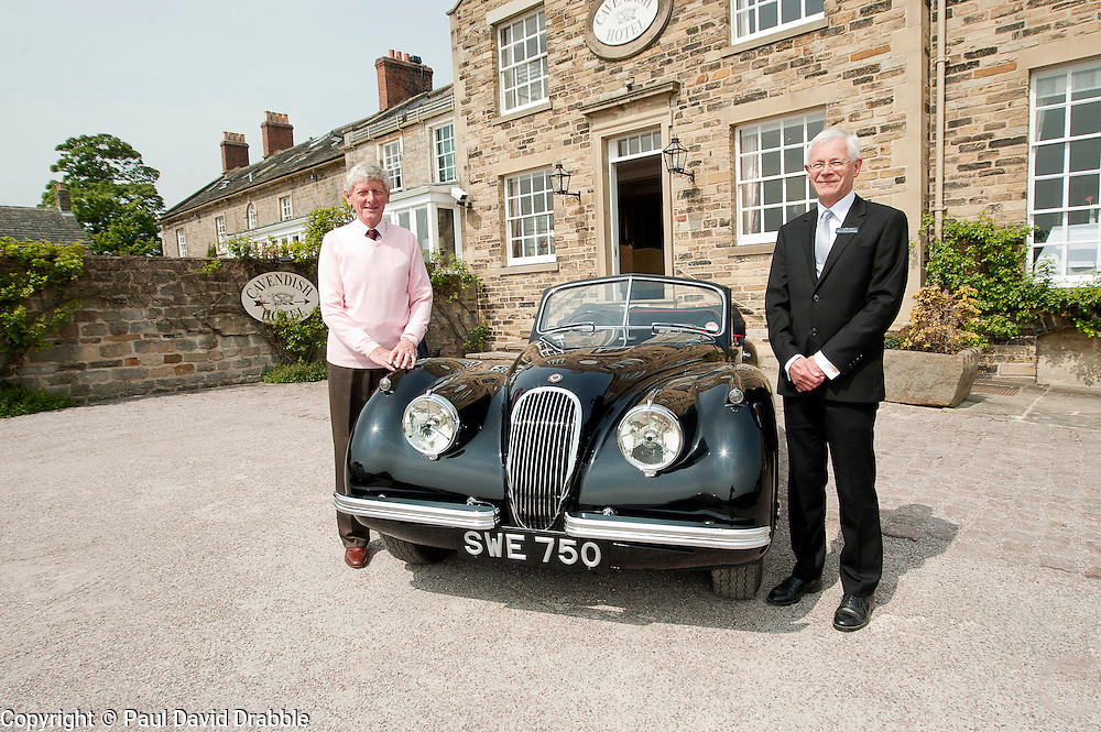 Hatfields Jaguar Ride and Drive event at the Cavendish Hotel Baslow Derbyshire Hatfields dealer principal Andrew Jeffrey with Peter Twyford (left) and his original XK which was originally  sold by Hatfields in the 1950's..5th May 2011.Images © Paul David Drabble