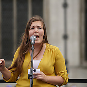 London,England,UK : 27th June 2016 : A young Labour party Speaker addresses the crowd KeepCorbyn protest against coup and Build our movement  at Parliament Square, London,UK. photo by See Li