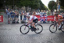 Hannah Barnes (GBR) of CANYON//SRAM Racing leads the breakaway during the La Course, a 89 km road race in Paris on July 24, 2016 in France.