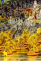Floats in the Carnaval parade of Unidos da Ponte samba school in the Sambadrome, Rio de Janeiro, Brazil.