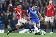 Jesse Lingard of Manchester United intercepts Cesar Azpilicueta of Chelsea. Premier league match, Chelsea v Manchester Utd at Stamford Bridge in London on Sunday 23rd October 2016.<br /> pic by John Patrick Fletcher, Andrew Orchard sports photography.