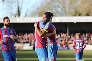 Crystal Palace Scott Dann celebrates his first goal with Wilfred Zaha during the The FA Cup Third Round match between Dover Athletic and Crystal Palace at Crabble Athletic Ground, Dover, United Kingdom on 4 January 2015. Photo by Phil Duncan.