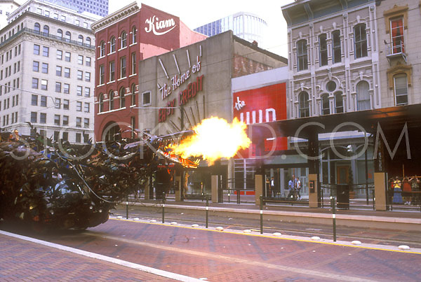 Stock photo of the dragon car breathing fire on Main Street in downtown Houston