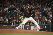 San Francisco Giants relief pitcher George Kontos (70) pitches against the Oakland Athletics at AT&T Park in San Francisco, California, on March 30, 2017. (Stan Olszewski/Special to S.F. Examiner)