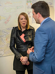 Pictured: Lyndsey Turnbull chatted with Mr Hepburn of her experience of beig helped by Progress Scotland<br /> Today, Employability and Traning Minister Jamie Hepburn visited Remploy in Edinburgh and met providers delivering the support to people with health conditions and disabilities and heard from people who have been helped into work through previous employability schemes.  Mr Hepburn met representatives from Reploy, Momentum Scotland, Wise Group, Progress Scotland and the Shaw Trust<br /> <br /> Ger Harley | EEm 3 April 2017