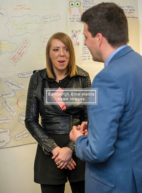 Pictured: Lyndsey Turnbull chatted with Mr Hepburn of her experience of beig helped by Progress Scotland<br /> Today, Employability and Traning Minister Jamie Hepburn visited Remploy in Edinburgh and met providers delivering the support to people with health conditions and disabilities and heard from people who have been helped into work through previous employability schemes.  Mr Hepburn met representatives from Reploy, Momentum Scotland, Wise Group, Progress Scotland and the Shaw Trust<br /> <br /> Ger Harley   EEm 3 April 2017