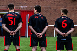 © Licensed to London News Pictures. 30/07/2021. Manchester, UK.  Mayor of Greater Manchester Andy Burnham (centre) takes part in a football match between Greater Manchester Fire and Rescue vs Grenfell Athletic in Manchester. The match forms part of a tour in which Grenfell will also take on Fire Services in Newcastle, Liverpool and London, with donations raised at the matches going towards the future of Grenfell Athletic. Photo credit: Ryan Jenkinson/LNP