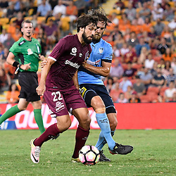 BRISBANE, AUSTRALIA - FEBRUARY 3: Thomas Broich of the Roar and Joshua Brillante of Sydney compete for the ball during the round 18 Hyundai A-League match between the Brisbane Roar and Sydney FC at Suncorp Stadium on February 3, 2017 in Brisbane, Australia. (Photo by Patrick Kearney/Brisbane Roar)